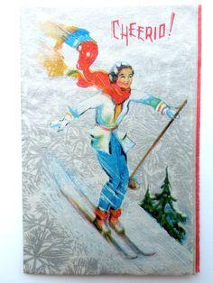 Vintage Ski Christmas Card  Greeting Card  by shabbychicskiboutiq, $9.00