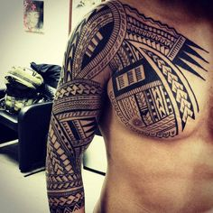 http://tattooideas247.com/tribal-chest-sleeve/