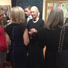 The artist (center) greets NBC's Andrea Mitchell. Photo by Frances Stead Sellers.