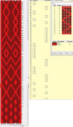 16 cards, 2 colors, repeats every 63 rows, diagonal variation, GTT ༺❁ Card Weaving, Weaving Art, Loom Weaving, Inkle Weaving Patterns, Art Du Fil, Inkle Loom, Willow Weaving, Weaving Projects, Tapestry Crochet