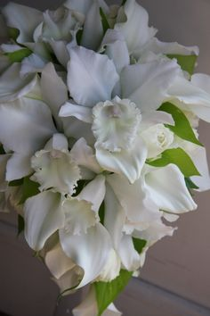 Wedding bouquet:   cattleya orchid,calla lily and rose