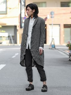 individual sentiments Linen Canvas Coat  individual sentiments Cotton Boil Shirt  Devoa Linen Cropped Pants  individual sentiments Bison Leather Derbies