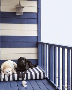 Outside bedding for my dogs at the beach!! The Pink Pagoda: Coastal Blue and White Monday