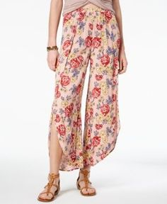 American Rag Juniors' Floral-Print Split-Leg Culottes, Created for Macy's - Pink XXS