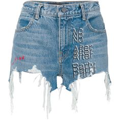 Alexander Wang denim 'No After Party' shorts (€270) ❤ liked on Polyvore featuring shorts, bottoms, blue, distressed shorts, torn shorts, alexander wang shorts, print shorts and denim shorts