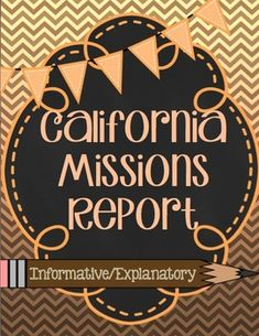 Help your students stay organized with this California Mission Report resource. It guides students to write a 5 paragraph informational/expository report on any California Mission.   Common Core Writing Standards ~ W.4.2, W.4.4, W.4.5, W.4.6, W.4.7, W.4.8, W.4.9, W.4.10  7 pages Included Page 1 ~ Rubric: Keeps student organized by showing what information is expected in each paragraph.