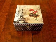 tea-box-caddy-decoupage-jewelry-vintage-Eiffel-tower-black-pink-flower-wood