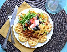 corn bread waffles with chili