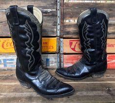TEXAS Brand Black Leather Croco Inlay Cowboy Western Boots Men's Size 9D #Texas #CowboyWestern
