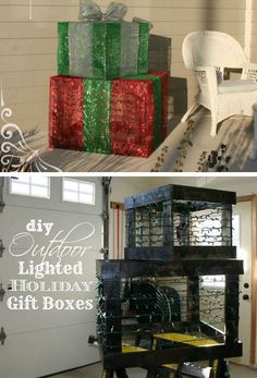 DIY Outdoor Lighted Holiday Gift Boxes | Click Pic for 21 DIY Christmas Outdoor Decorations Ideas | Front Porch Christmas Decorations