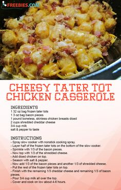 Make this recipe in your slow cooker for MAXIMUM easiness. Tater Tot Recipes, Casserole Recipes, Slow Cooker Recipes, Crockpot Recipes, Cooking Recipes, Cheesy Tater Tots, Tater Tot Casserole, Supper Recipes, Dinner Ideas