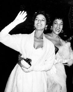 Dorothy Dandridge and sister Vivian arrive at the premiere of Carmen Jones, 1954