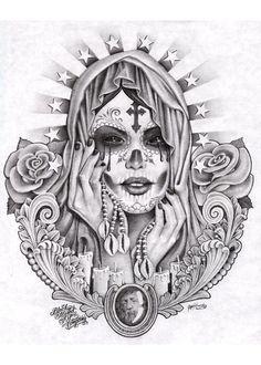 Santa Muerte by Mouse Lopez Black White Paper Prison Fine Art Print