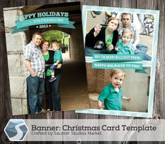 Christmas Card Template: Banner - 5x7 Photoshop Template by SaunterStudios, $8.00