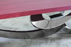 Contemporary Design, Dining-Table in Stainless Steel, Amaranth, Limited Edition | From a unique collection of antique and modern dining room tables at https://www.1stdibs.com/furniture/tables/dining-room-tables/