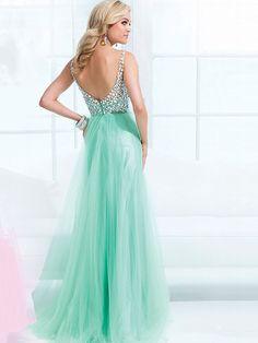A-line/Stile Principessa Senza Maniche Bretelle Increspature Floor-length Tulle Dresses - Abiti da Cerimonia