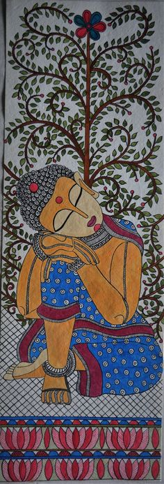 madhubani art Madhubani Painting buddha on Handmade Paper with Acrylic Paint Buddha Painting, Mural Painting, Buddha Drawing, Painting Tips, Buddha Artwork, Fabric Painting, Madhubani Art, Madhubani Painting, Mandala Art