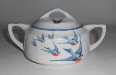 Buffalo Pottery China Bluebird Sugar Bowl W/Lid! VERY RARE