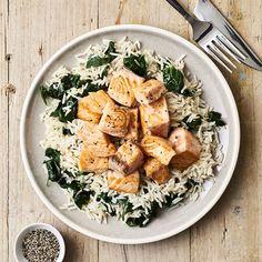 Poêlée de saumon, épinards et riz - illico Fresco