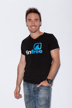 Rob Stewart supporting Fin Free wearing his Shark Watcher Black