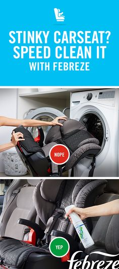 Wondering how to clean away the stink from your kid's carseat? If it looks clean but smells like a dumpster, mist the seat with Febreze ONE for a fresh alternative to the washing machine.