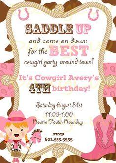 Cowgirl Birthday Party Invitation Pink and Brown por DaxyLuu