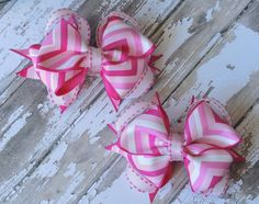 4 Inch Stacked Pink Chevron Pigtail Bows by LittleLovesAndStuds, $10.00