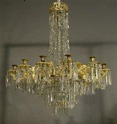 Oscariansk ljuskrona med 12 ljusarmar, senare delen av 1800-talet