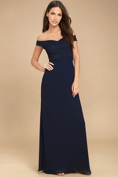 Lulus Exclusive! Make a stunning impression that will last a lifetime in the Dress to Impress Navy Blue Lace Off-the-Shoulder Maxi Dress! Elegant lace covers a sweetheart neckline and princess seamed bodice framed by off-the-shoulder sleeves (with no-slip strips). Chiffon skirt falls from a fitted waist to a floor-grazing length. Hidden back zipper.