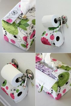 Box of Happies LOVES DIY!  Check out this cute fabric toilet paper holder! And while you're at it, check US out!  www.boxofhappies.com - a monthly subscription box of unique handmade products created by talented artists!