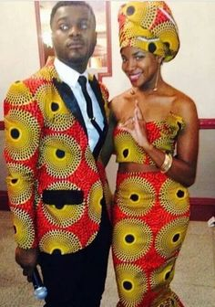 stylish couple, African wax block print fabric via Sweet Africa African Inspired Fashion, African Men Fashion, African Beauty, Ethnic Fashion, African Women, Men's Fashion, African Attire, African Wear, African Dress