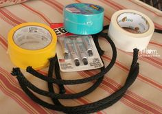 Rings: - 1/2″ Nylon rope – cut into 12″ pieces - E6000 (or similar bonding glue) to help secure the ends together - Duck Tape – your choice ...