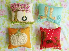 The Four Seasons Freehand Embroidered Mini Pillow Your Choice of ONE. $20.00, via Etsy.