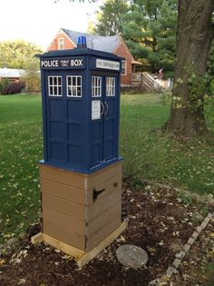 Anne Blaeske. Lisle, IL. I read a story in our local paper about the Little Free Library... and I knew we needed one... and I knew it had to be the TARDIS. So my husband built me a beautiful library for my birthday.