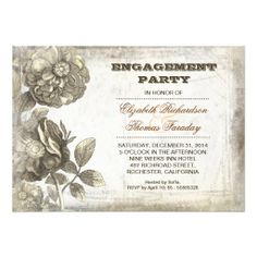 flower drawing engagement party invite