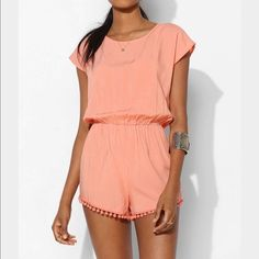 Peach staring At Stars Tieback Pompom Romper xs Staring At Stars Peach Staring At Stars Tieback Pompom Romper, size xs, 100% rayon this is peach!!  the teal one was just to give you an idea of other views Urban Outfitters Pants Jumpsuits & Rompers