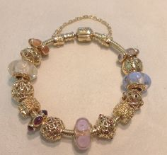 pandora 14k gold bracelet with murano - Google Search