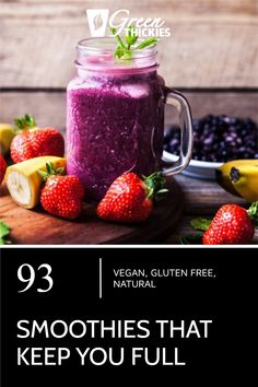 These smoothies will replace a meal and keep you full until your next meal. They are based on easy to find, healthy ingredients and will help you lose weight. Protein Fruit Smoothie, Raw Vegan Smoothie, Smoothie Prep, Fruit Smoothie Recipes, Smoothie Ingredients, Make Ahead Smoothies, Good Smoothies, Breakfast Smoothies, Healthy Blender Recipes