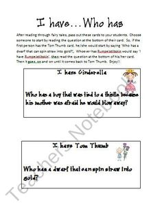 Fairy Tales: I Have Who Has Activity from oscyNcoopy on TeachersNotebook.com (4 pages)