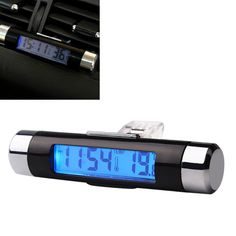 2 in 1 Blue Backlight Thermometer Portable LCD Display Screen Auto Accessories Car Digital Time Clock Air Vent Outlet Clip On