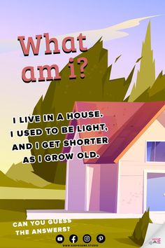 Looking for riddles to use in your holiday games? Here's one: I live in a house. I used to be light, and I get shorter as I grow old. What am I? Easy Riddles. Food Riddles. Riddles and Brain Teasers with Funny Answers. Riddles for Teens. What Am I Riddles With Funny Answers. Word Riddles. Riddles to Tell Your Family. Food Riddles, Animal Riddles, Funny Riddles, What Am I Riddles, Riddles With Answers, English Riddles, Tricky Questions, Holiday Games, 1 Live