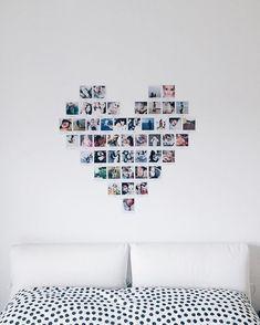 Monday love A heart deco looks always great ☺️ Diy Wall Decor For Bedroom, Cute Room Decor, Teen Room Decor, Diy Bedroom, Bedroom Ideas, Bedroom Pictures, Home Decor Pictures, Heart Photo Walls, Photowall Ideas