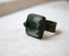 Fused stained glass dark green white unique ring by ArtKvarta, $28.00