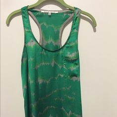 green racer back silky tank top Silky green patterned racer back tank top Collective Concepts Tops Tank Tops