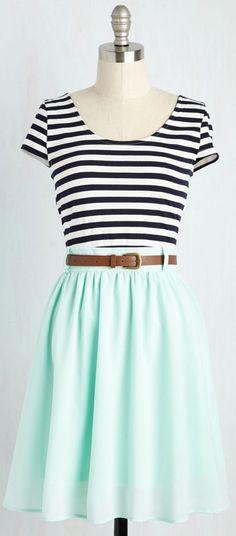 Stripes & a pop of mint!