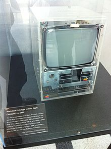 A prototype of the Macintosh from 1981 (at the Computer History Museum). Steve Jobs (1955–2011), USA – Apple Macintosh computer.