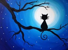 Join us for a Paint Nite event Tue Nov 2018 at 300 Liberty St. SE Salem, OR. Purchase your tickets online to reserve a fun night out! Cute Canvas Paintings, Oil Pastel Paintings, Oil Pastel Art, Easy Canvas Painting, Easy Paintings, Painting & Drawing, Canvas Art, Silhouette Painting, Cat Art