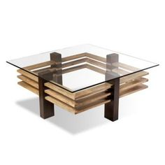Glass and wood coffee table.