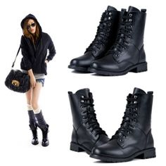 $8.59Women's Cool Black PUNK Military Army Knight Lace-up Short Boots Shoes