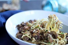 Mushroom, Lentil and Pancetta Zucchini Pasta with Toasted Almonds